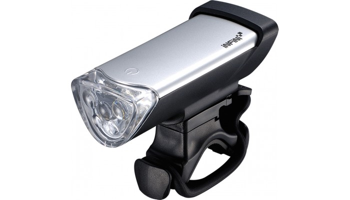Infini Luxo 5 LED front light silver, with batteries and bracket